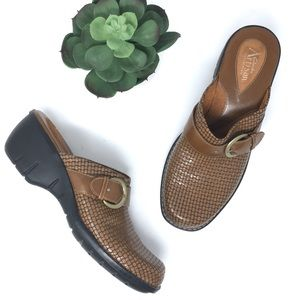 Clarks Artisian Textured Leather Mules Clogs